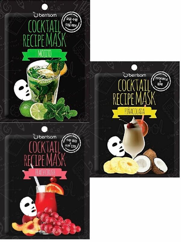 BERRISOM Маска для лица тканевая с ароматом мяты и лайма Cocktail Recipe Mask Mojito 20г